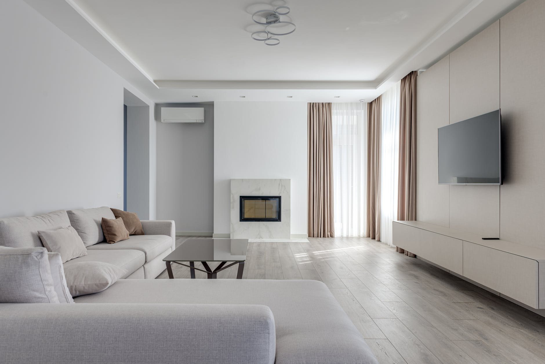 spacious lounge room with soft furniture